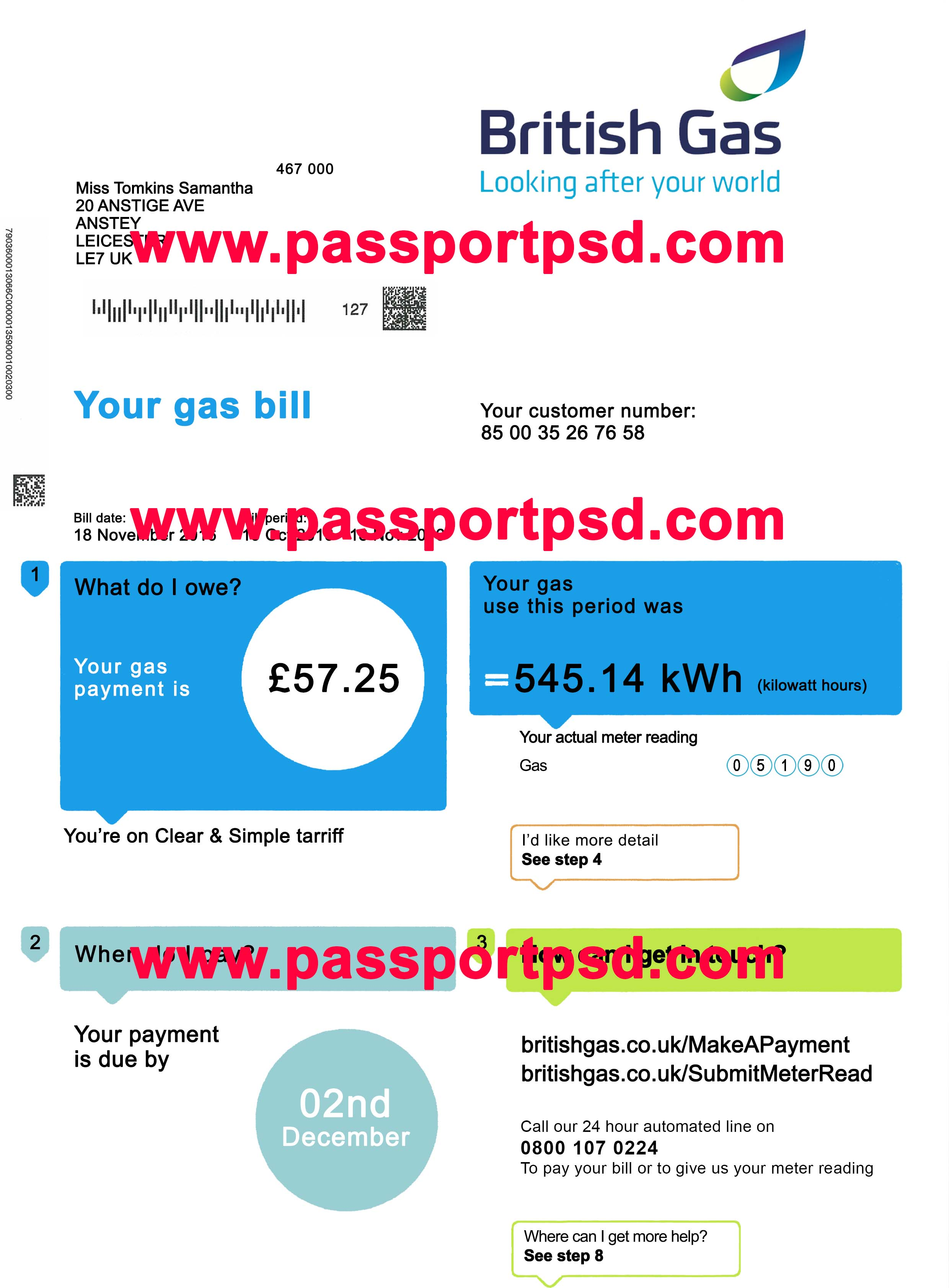 Uk utility bill psd template passportpsd maxwellsz