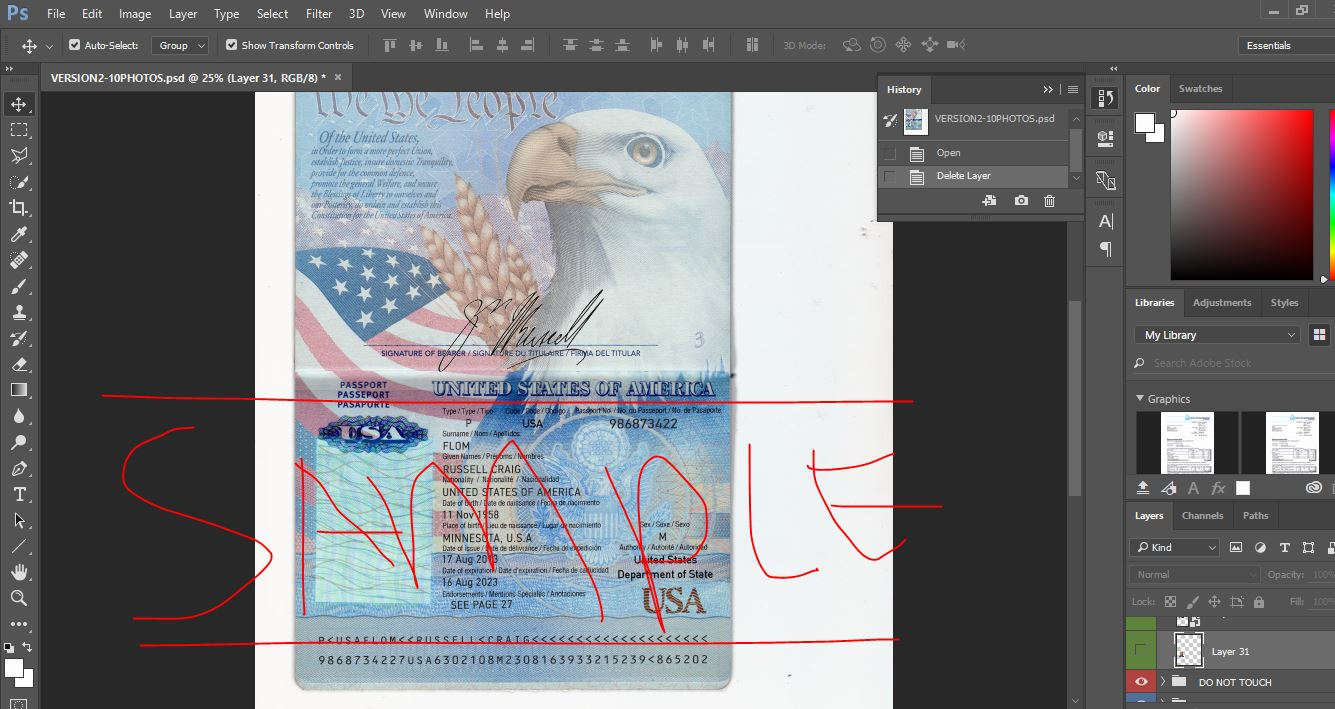 USA Passport PSD Template - PassportPSD